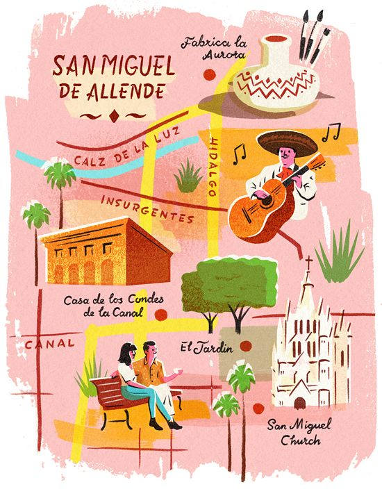 Retro 60s style mexican illustration - Maps - Conde Nast Traveller magazine - Owen Gatley
