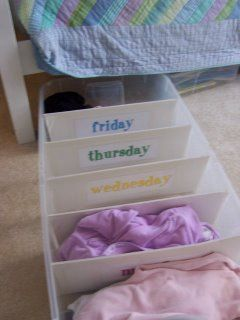 Under-bed daily outfit organizer... Great idea for the kids' clothes! I can pick out their outfits every Sunday for the whole week rather than doing it the night before.