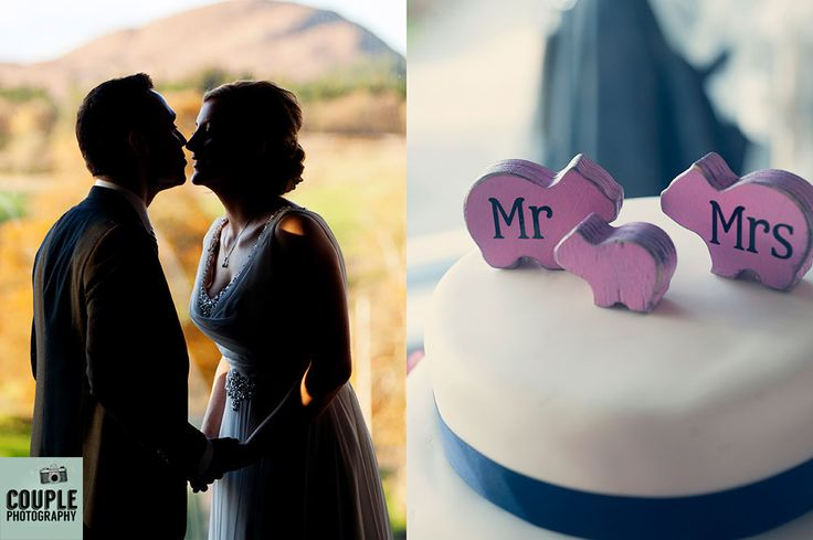 Couple silhouette photo. Cute pig cake toppers. Wedding at Castle Dargan Hotel Photographed by Couple Photography. Ireland.