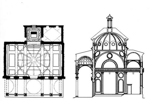 Ground Plan and Elevation Section of Brunelleschi's design for S. Maria degli Angeli, Florence.