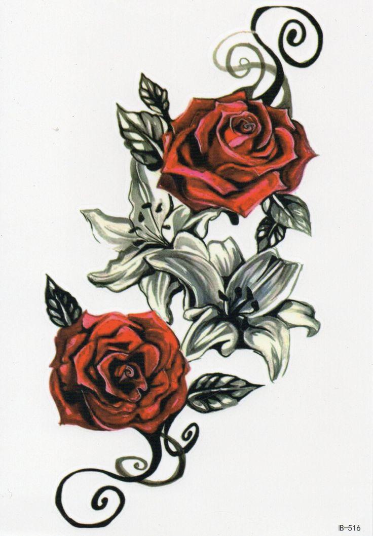 Roses Fleurs Rouge Partie Temporaire Adhésif Temporaire Une fois Tatouage 10,5 x 21cm HB5   – Blumen Temporary Tattoos  Flower Temporary Tattoos