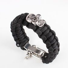 Outdoor Survival Paracord Bracelet with Skull Metal U adjustable Shackle Buckle