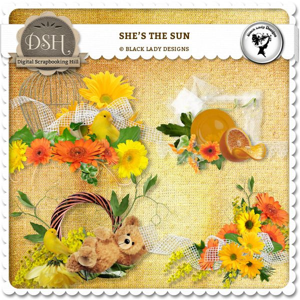 She's the sun - embellishments by Black Lady Designs : Digital Scrapbooking Hill.com