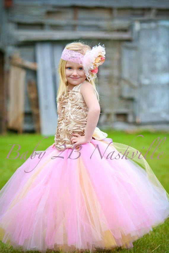 Vintage Gold Flower Girl Dress Wedding Flower by Baby2BNashville