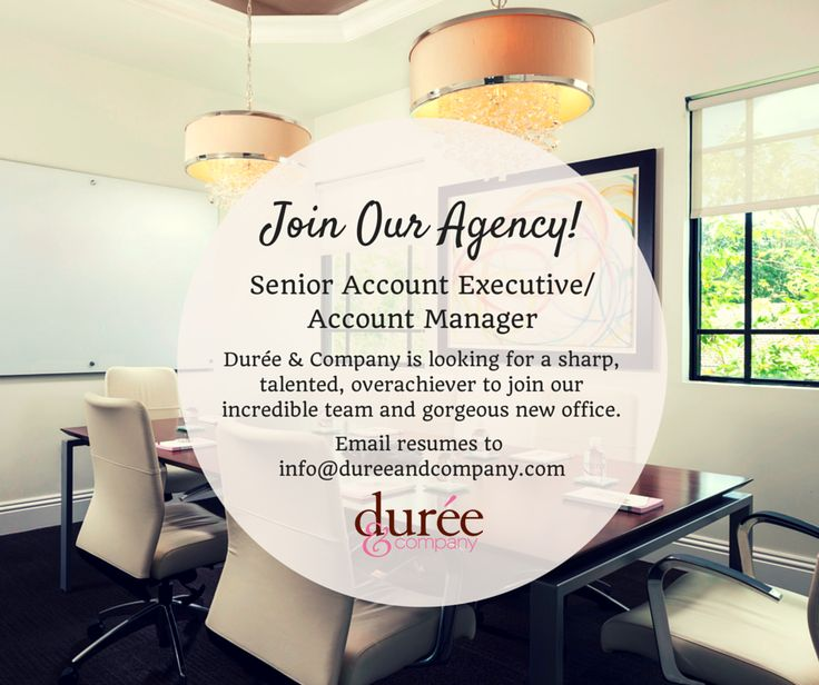 South Florida public relations firm Durée & Company is hiring. We are looking for a dynamic senior account executive/account manager, and we're getting a lot of resumes. Our team has applied to our fair share of jobs, so we know what it feels like to try to stand out among a crowd of applicants.
