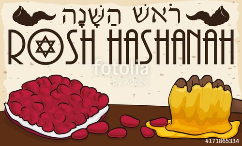 Delicious Pomegranate Seed and Honey for Jewish New Year Celebration
