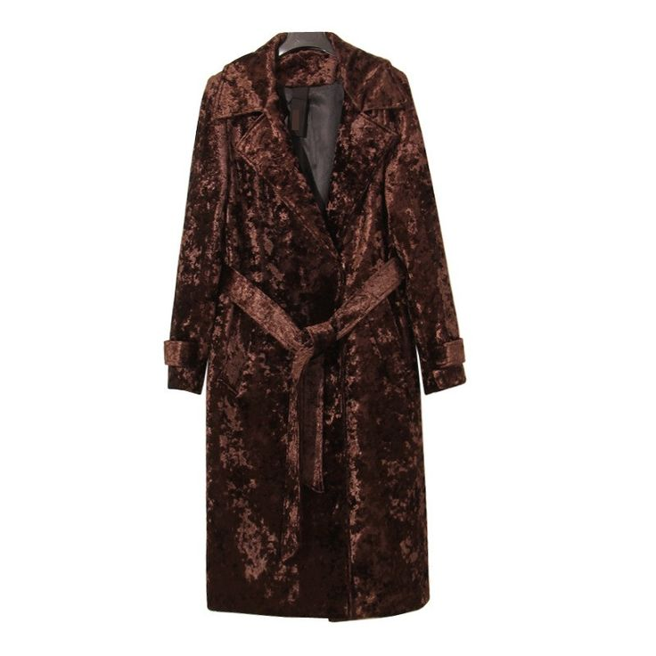 ru.aliexpress.com store product TWOTWINSTYLE-2016-Winter-Diamonds-Velvet-Suits-Turn-Down-Collar-Long-Section-Coats-With-Belt-Trench 1604048_32759749132.html