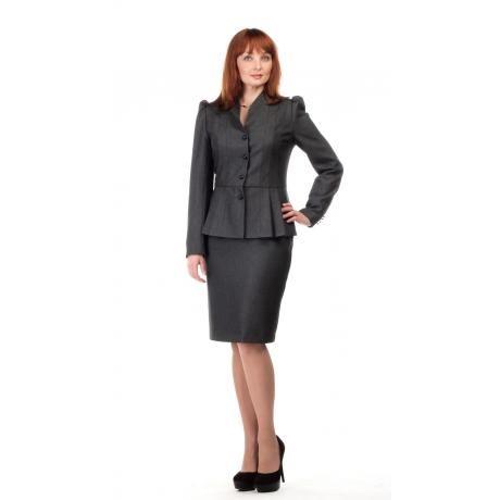 A-Style - Приталенный юбочный костюм с баской