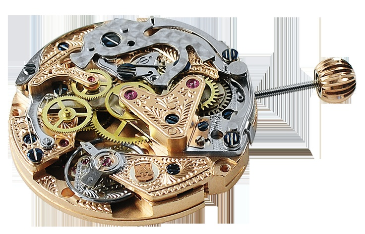 Alexander Shorokhoff. Leo Tolstoi. Cal. 31681.AS mechanical chronograph, with display of day and night time. hand engraved, gold plated or rhodium plated. blue-dyed screws  #movement #uhrwerk #werk #uhren #technik #schmuck