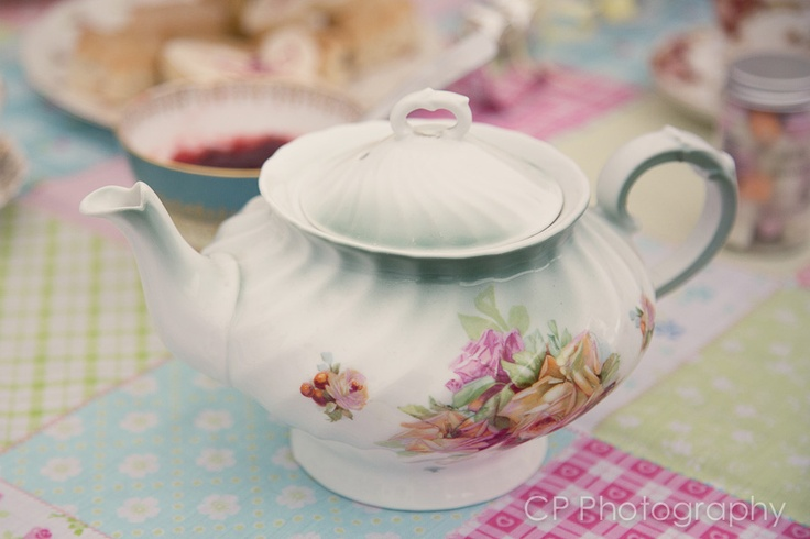 Original vintage tea pots are a must for your afternoon tea celebration. Hire from www.fuschiadesigns.co.uk.