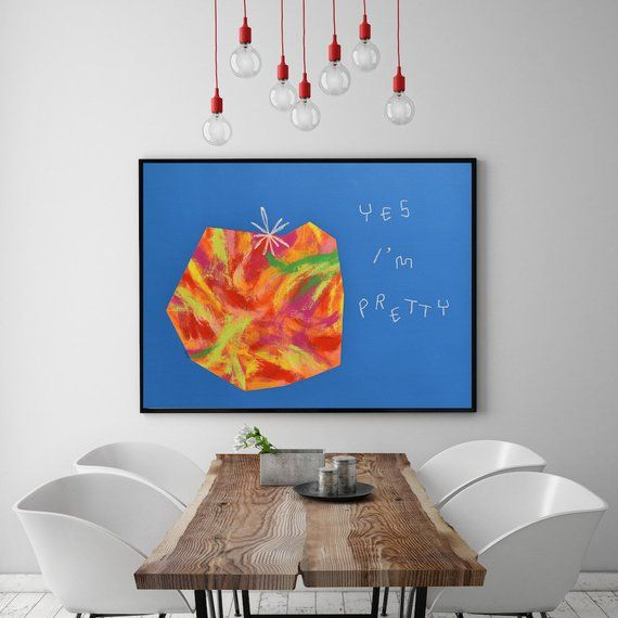 Original Pop Art Painting Positive Art Vegetable Tomato Art Modern Art Abstract Food Art Colorful Kitchen Dining Room Wall Art Funny Quote Dining Room Wall Art Modern Art Abstract Pop Art