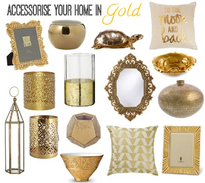 Accessorise your home in gold with homewares from Zanui, Areaware, Julia Knight, John Lewis, Day Birger et Mikkelsen, Casa Uno, Linea, Howard Elliott, Aura by Tracie Ellis, L'Objet and Biba.