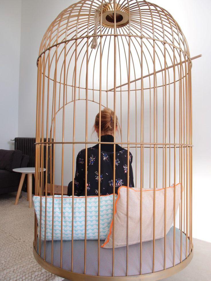 La cage d co mobilier de salon mobilier et si ge suspendu - Siege suspendu salon ...