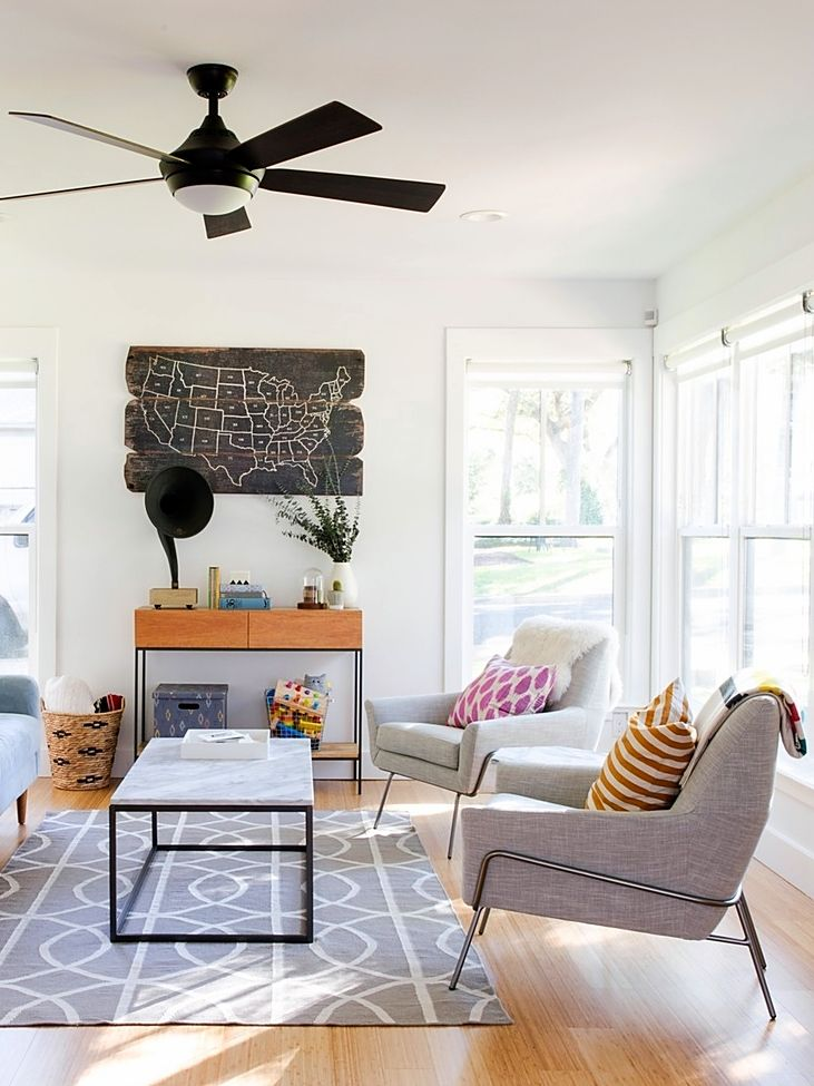 A Simply Beautiful Modern Ish Austin Home Living Room Ceiling FanCeiling