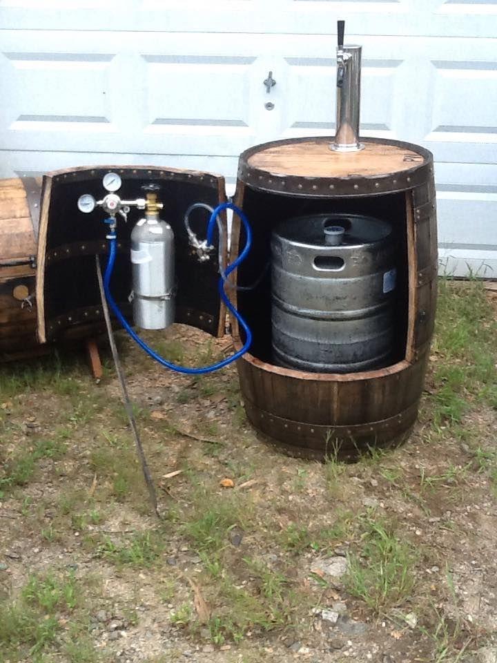 pierce s workshop barrel kegerator beer barrel ideas wine barrel barrel projects on outdoor kitchen kegerator id=93272