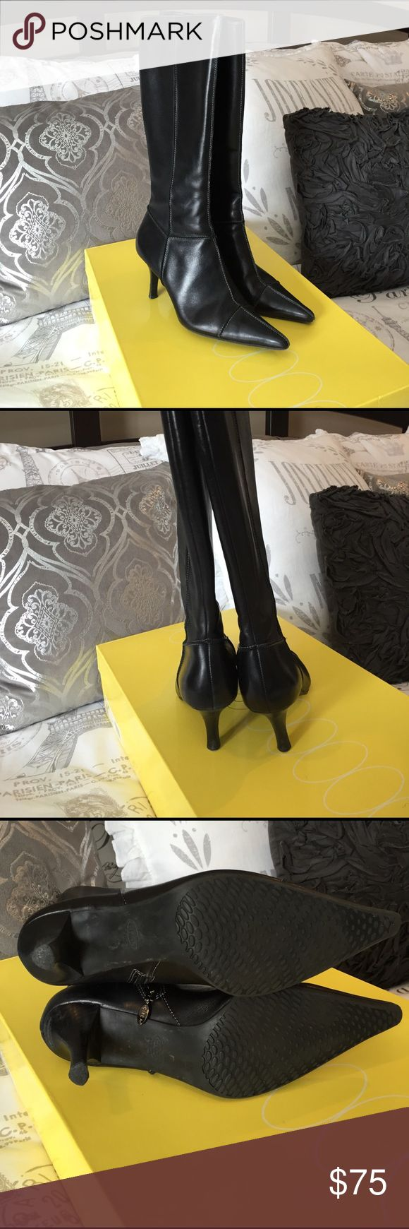 """Circa Joan & David boots EUC Circa by Joan & David boots. Gently worn. No sings of wear except on soles and one small nick in right heel as pictured. Wear on soles is minimal. 2 3/4"""" heel. Boot shaft approx 14"""". Black leather with white stitching. Joan & David Shoes Heeled Boots"""