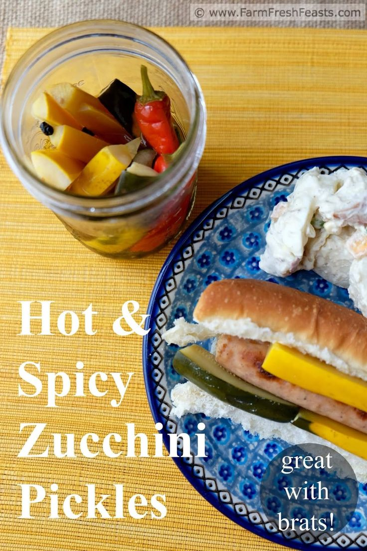 Hot and Spicy Zucchini Pickles  http://www.farmfreshfeasts.com/2016/07/hot-and-spicy-zucchini-pickles.html