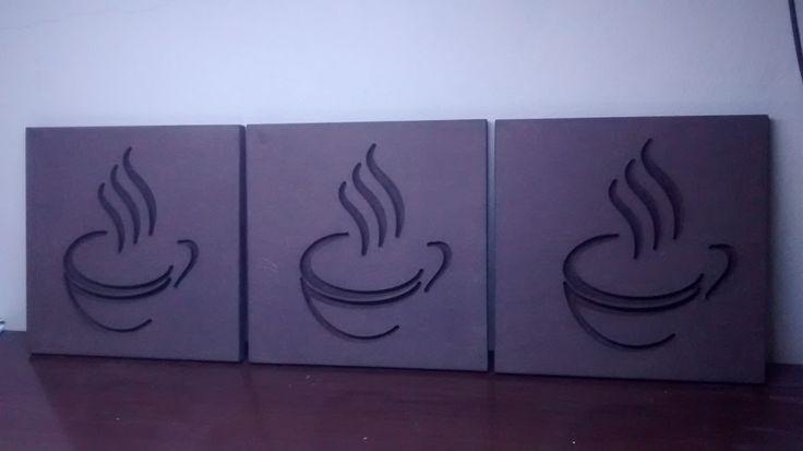 Conjunto de quadros 19cm x 19 cm feitos em MDF 9mm com gravação em baixo relevo #quadroslegais #café #mdf #quadrolegal