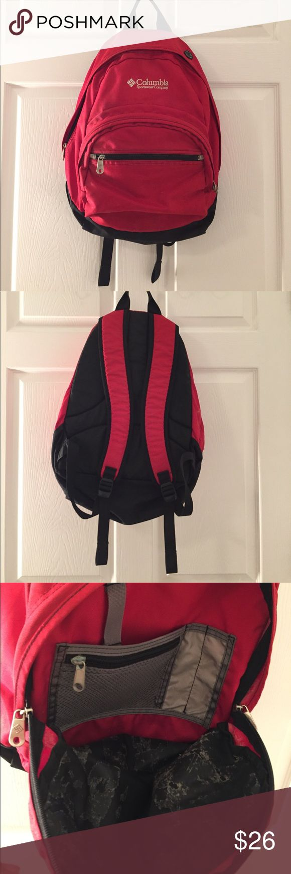 Columbia Sportswear Company backpack Columbia Sportswear Company backpack in a bright red color. Used, with some signs of wear inside but the quality of the backpack is intact. Overall in great condition. ✨Bundles of 3+ items get 15% off! Columbia Bags Backpacks