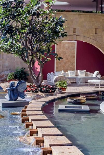 Outdoors Designs - #Tao #Architecture #Landscape #Design #Water #feature #sculpture #winged #mystical #swimmingpool #walkway #steppingstones #malad #stone #wall #pune