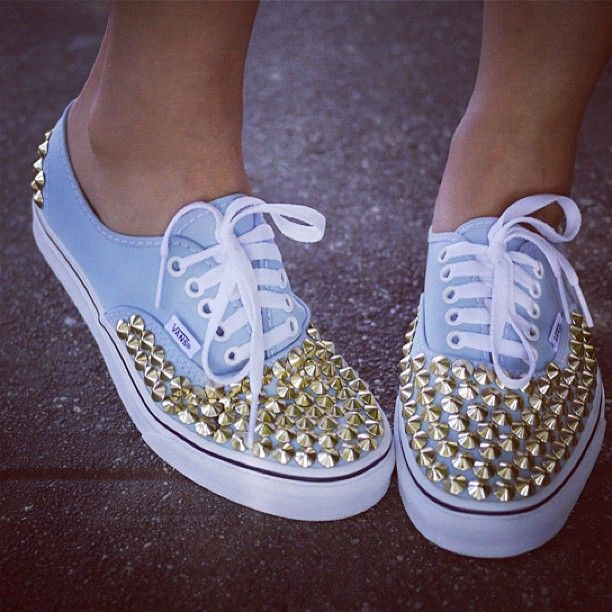 Studded Vans I would love this in black and silver studs :)
