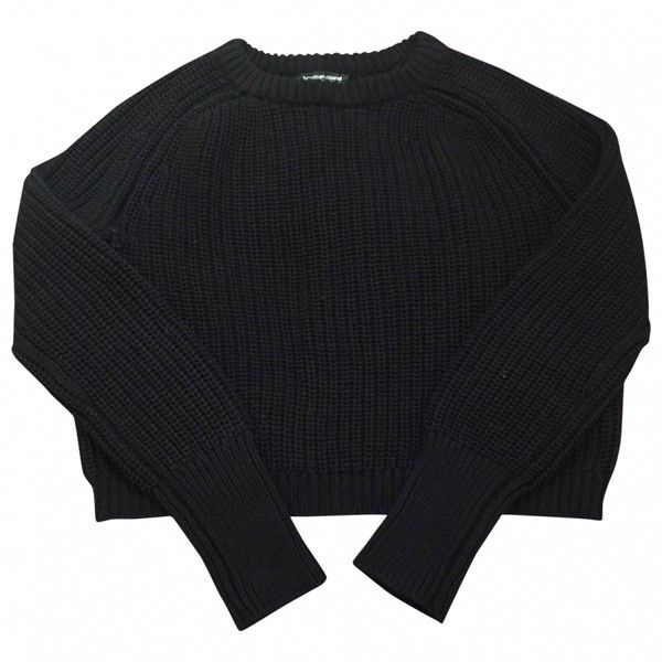 Black Cotton Knitwear AMERICAN APPAREL (€35) ❤ liked on Polyvore featuring tops, sweaters, jumpers, shirts, black cotton sweater, shirts & tops, black top, cotton shirts and black shirt