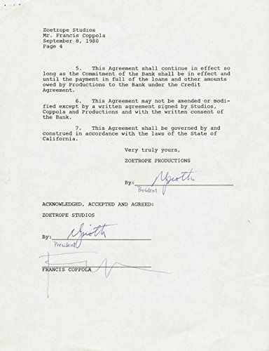 92 best collectibles of 90s images on pinterest letter francis ford coppola document signed 09081980 thecheapjerseys Images