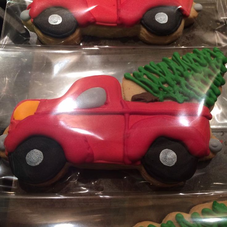 Red Truck and Christmas tree cookies