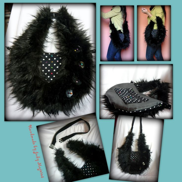 Handmade by Judy Majoros- Black -white Polka dots handbag 2in1. Crossbady bag. Faux fur bag.Beaded handbag. Recycled bag