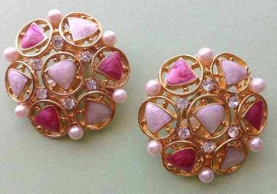 1950s clip earrings diamanté faux pearl  & by AgainAgainVintage, $27.00