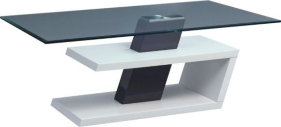 """""""Modernt soffbord med bordsskiva i härdat klarglas och underrede i vit och grå högglans."""""""