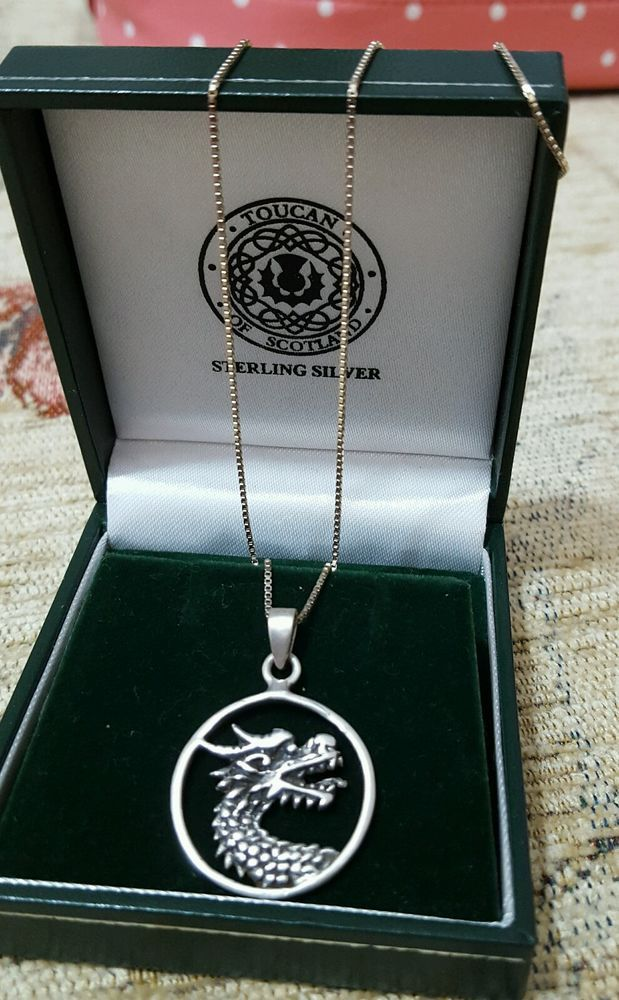 925 SOLID SILVER NECKLACE WITH DRAGON SHAPED PENDANT in Jewellery & Watches, Fine Jewellery, Fine Necklaces & Pendants | eBay