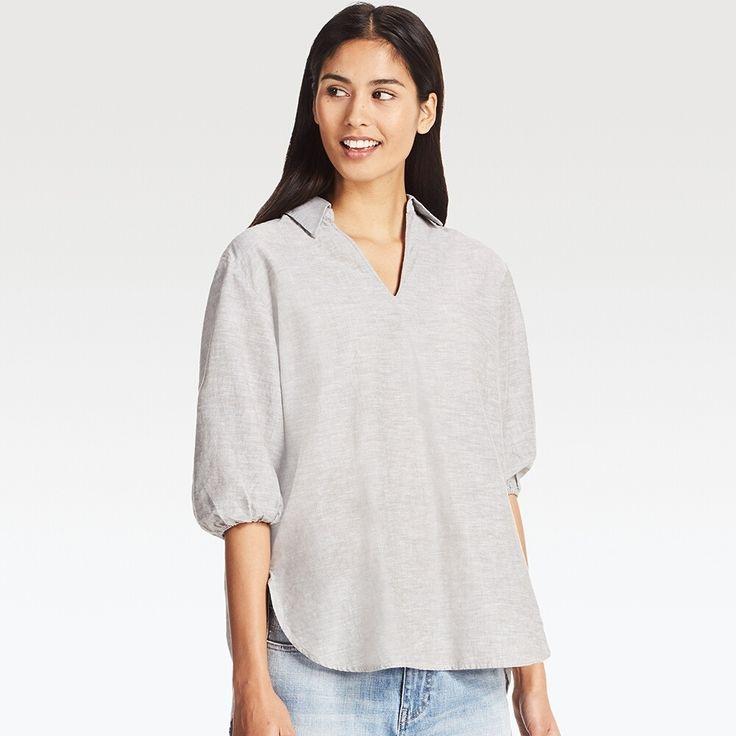 WOMEN Cotton Linen 3/4 Sleeve Tunic
