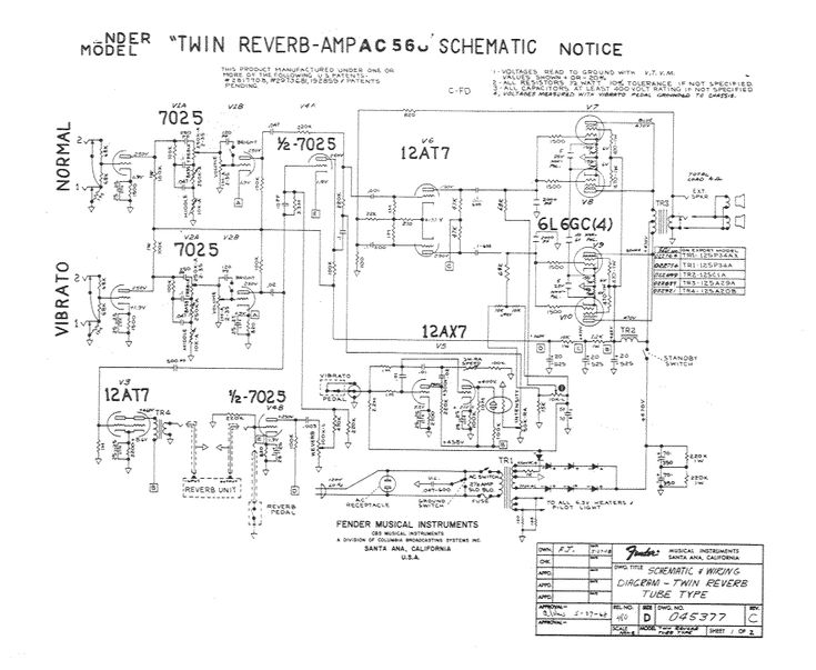 Twin reverb schematics   Listen   Electronics projects, Bass amps, Dc circuit