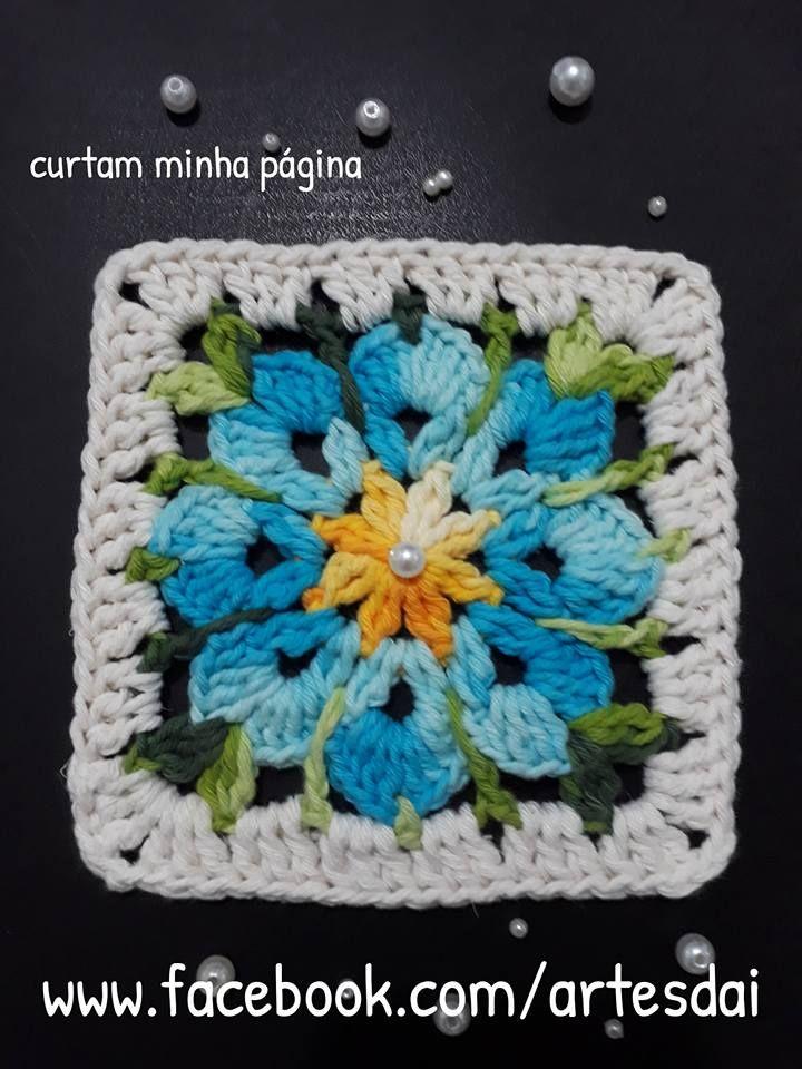 Pap Square Floral Croche Quadrados De Croche Tapete De Croche Trico E Croche