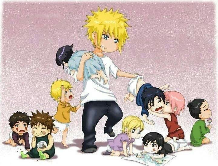 OMG Minato ( #Naruto's dad ) as a babysitter LOL looks like his a bit overwhelm