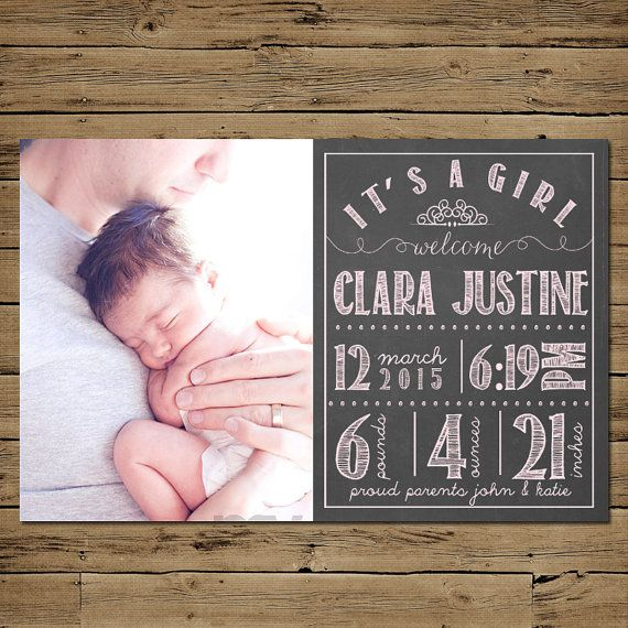 Chalkboard Birth Announcement - Baby Girl Birth Announcement Cards - Printable - Personalized on Etsy, $11.54 CAD