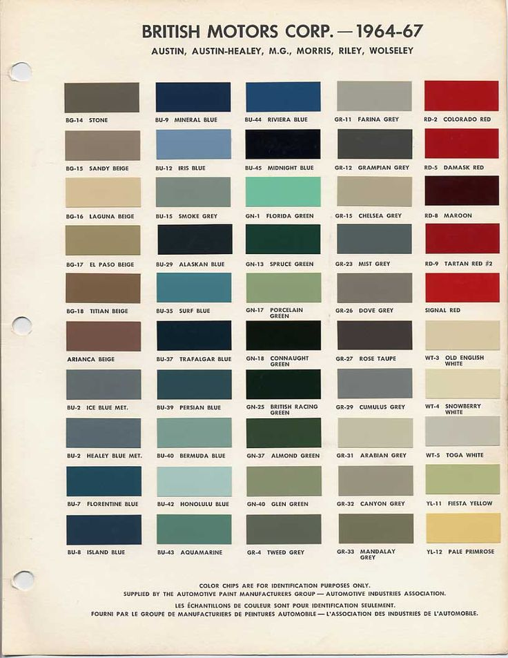 BMC British Leyland Paint Code Chips 1964-1967