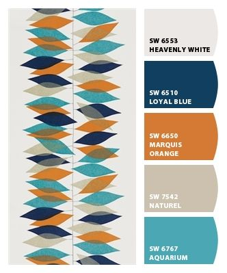 Blue and orange mid century palette. Paint colors from Chip It! by Sherwin-Williams https://emfurn.com/collections/dining-chairs