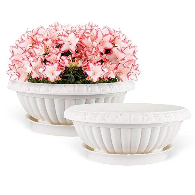 Mkono 2 Pack Plastic Planter Bowl 12 Inches Plant Pots With Saucers Beige Plastic Planter Decorative Bowls Bowl