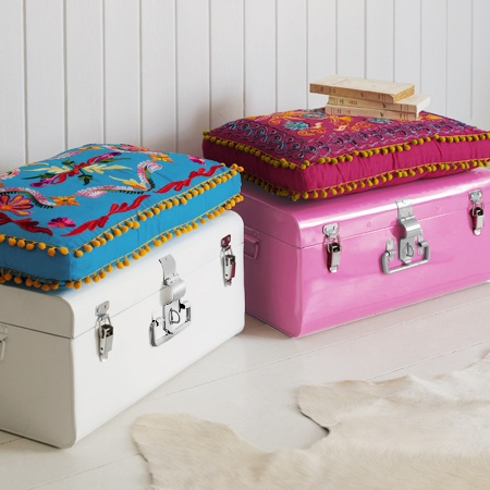 colourful metal storage trunk u0026 seat