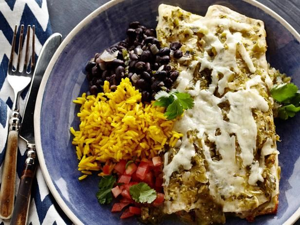 Chicken Enchiladas with Roasted Tomatillo Chile Salsa: Tyler Florence cooks up this traditional Mexican favorite with perfect seasoning and just the right amount of heat from the green chiles.