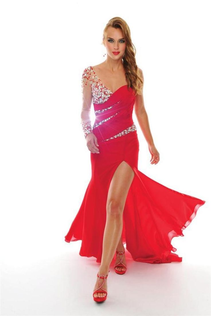 2014 Prom Dresses New Arrival Mermaid One Shoulder Sweep/Brush Red Chiffon Beadings&Rhinestones With Slit