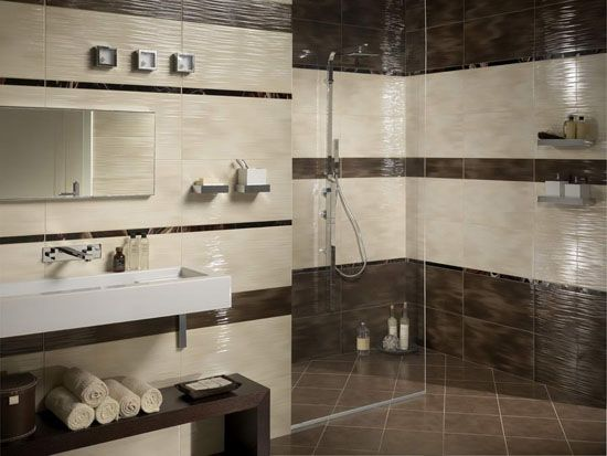 modern bathroom tiles in cream and brown colors