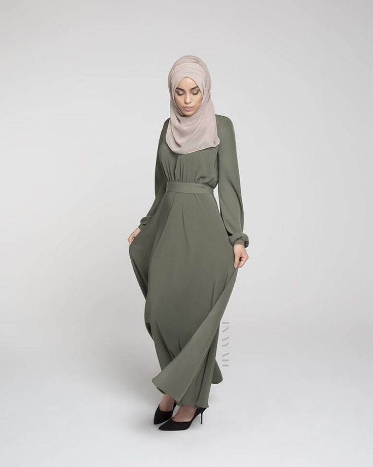 INAYAH | The epitome of elegance; Olive Ruched #Abaya + Light Mink #Maxi Georgette #Hijab - visit us at www.inayah,co