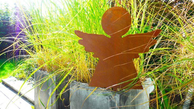 Metallengel zum Einstecken von PAULSBECK - Buchstaben, Dekoration & Geschenke auf DaWanda.com #Gartendeko #Engel #Stecker