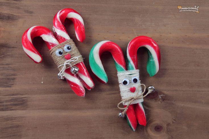 Renos en bastones para decorar la Navidad ¡Haz click en la imagen para acceder al tutorial de www.LasManualidades.com!