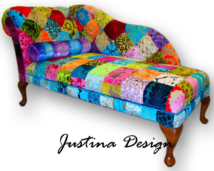 patchwork chaise longue in designers guild velvets with cushion bolster via etsy. Black Bedroom Furniture Sets. Home Design Ideas