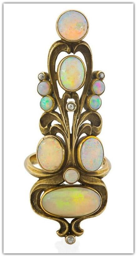 ART NOUVEAU OPAL & DIAMOND GOLD INDEX FINGER RING. 14k, American ca. 1905, design based on an Essay on Broom Corn by E. Colonna. Provenance: Collection of Dora Jane Janson.