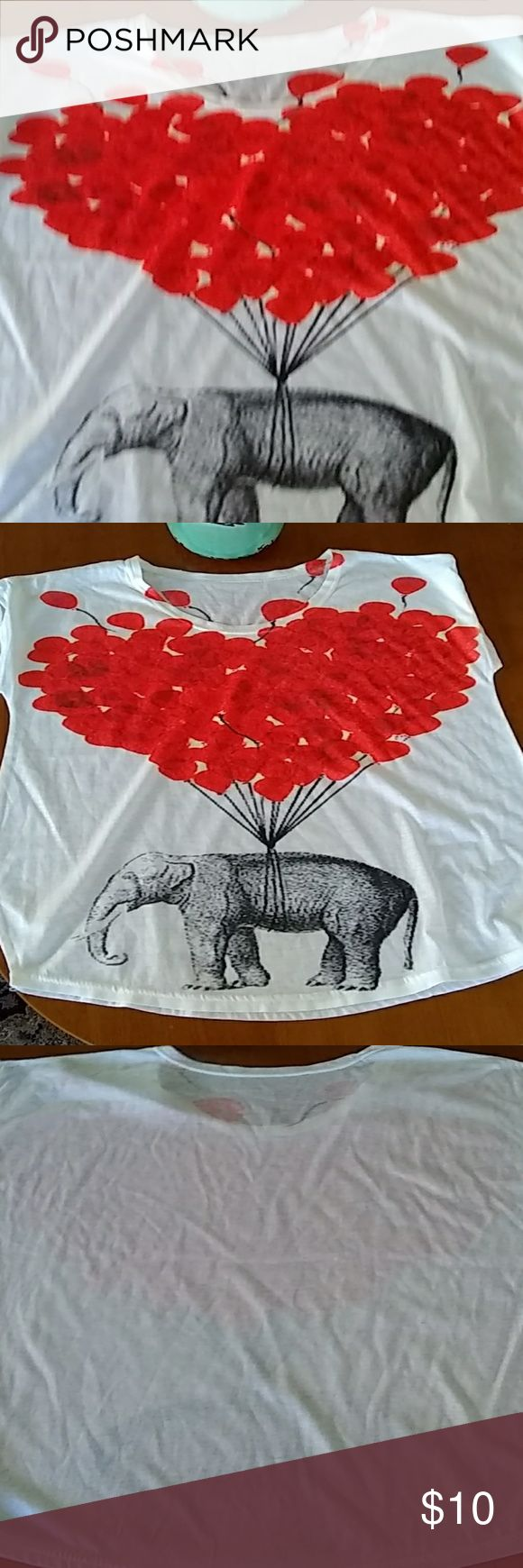 Women's Red balloons with Elephant you can pair it with jeans and a jean skirt  It's a totally fun tee. & Other Stories Tops Tees - Short Sleeve